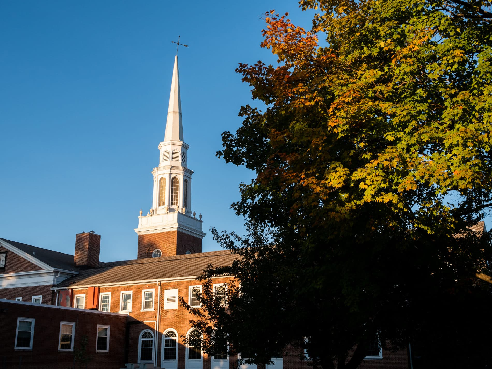 Exterior image of Catonsville Presbyterian Church at sunrise