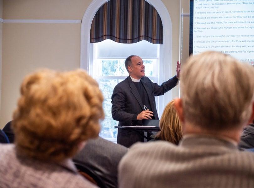 Ken Kovacs leads the adult education class at Catonsville Presbyterian Church
