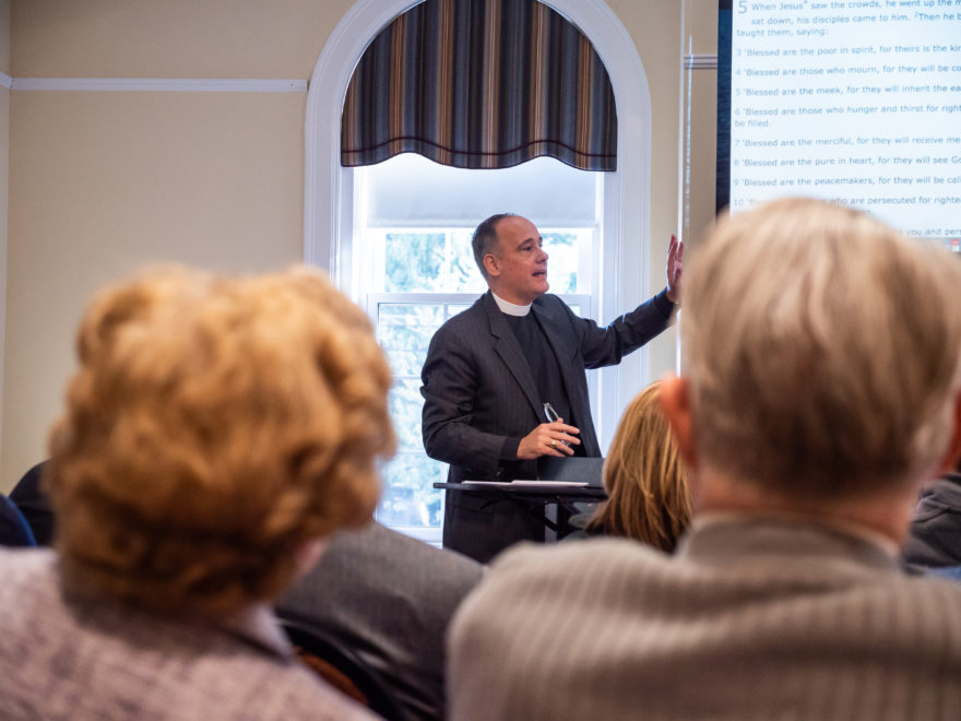 Ken Kovacs leads the adult education class at Catonsville Presbyterian Church