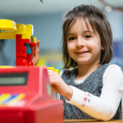 A little girl in the childcare center at Catonsville Presbyterian Church