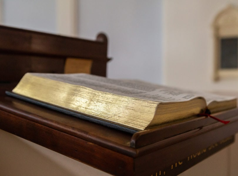 A Bible in the pulpit of Catonsville Presbyterian Church