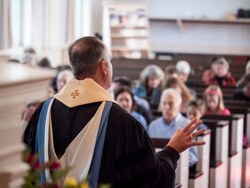 Rev. Ken Kovacs preaches to the congregation at Catonsville Presbyterian Church