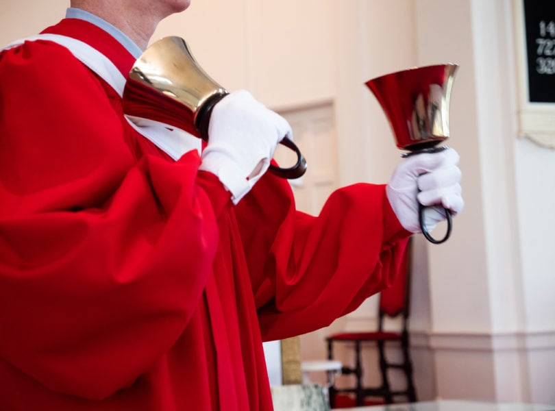 A person rings in the Handbell Choir at Catonsville Presbyterian Church