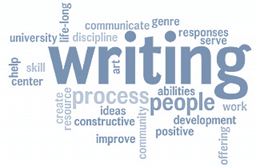 "A word cloud where the word ""writing"" is most prominent"