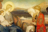 painting of the 3 magi bowing to Jesus and Mary by John McKirby Duncan