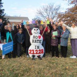 """No Hate"" snowman, found a home on Catonsville Presbyterian's lawn."