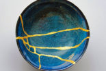 broken blue bowl, mended with gold