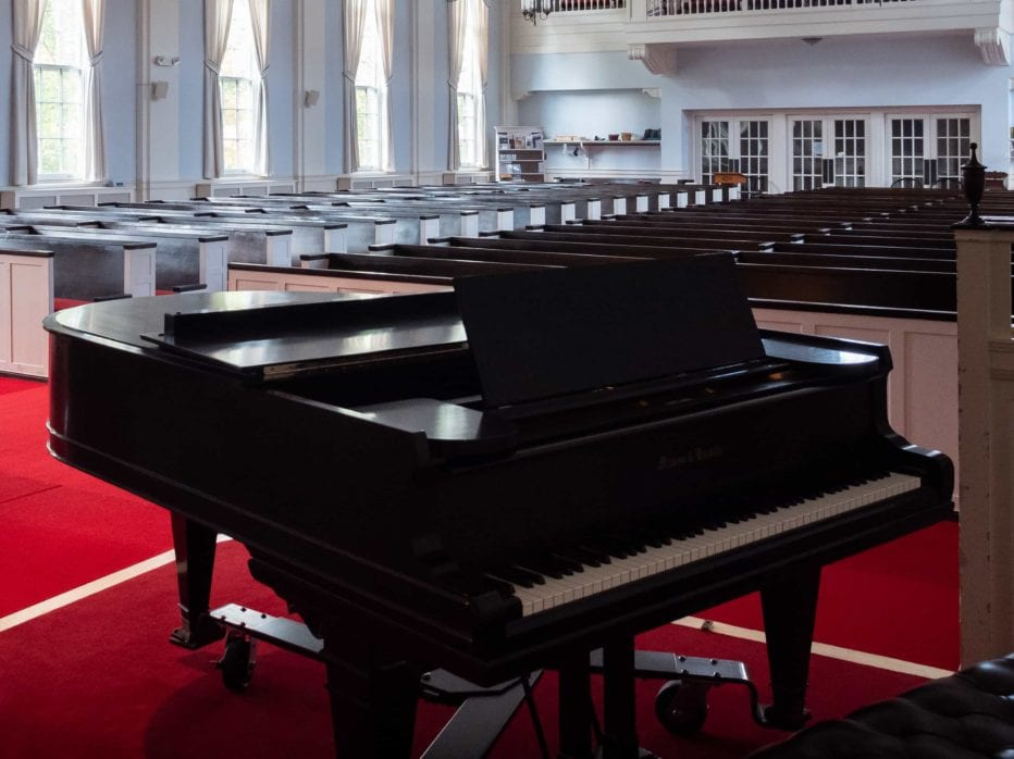 grand piano in the sanctuary