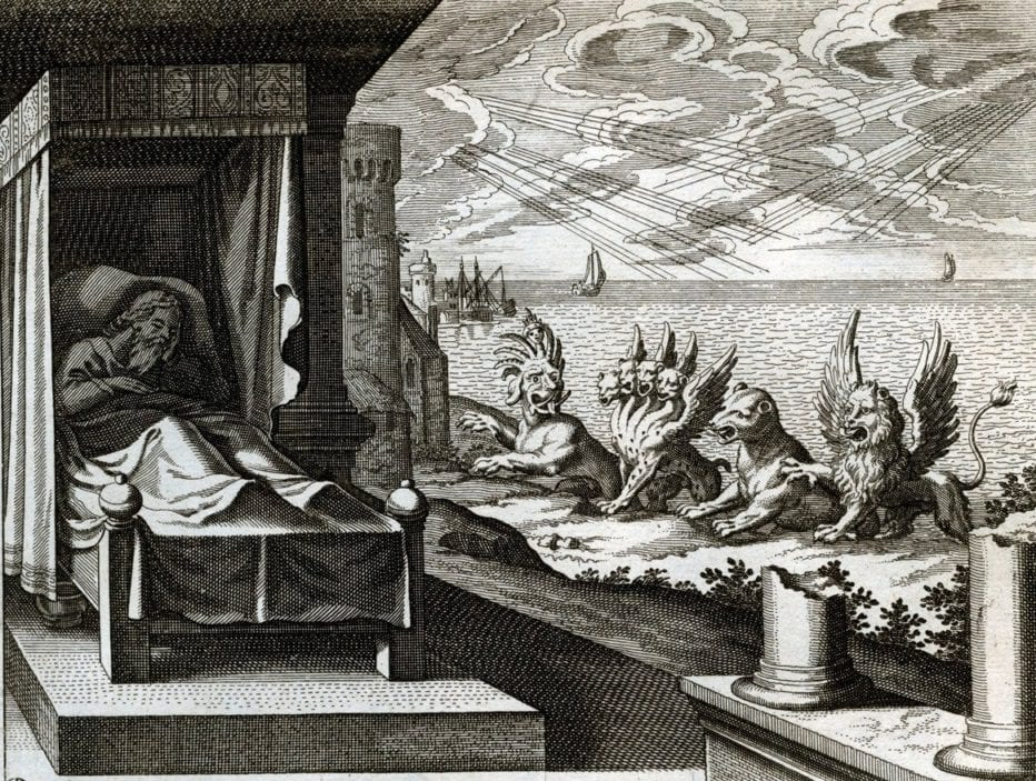 An illustration of Daniel dreaming about beasts