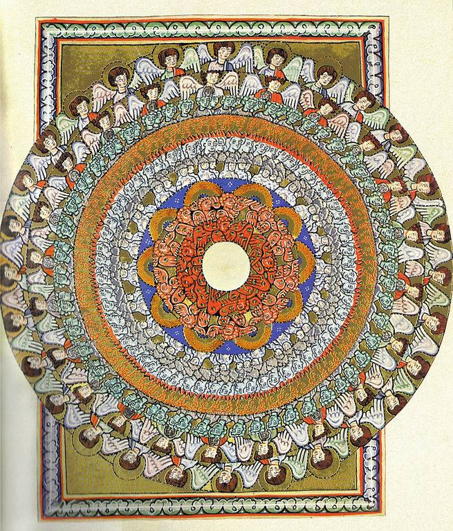 A circular design with angels around the perimeter
