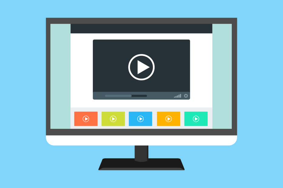 a graphic of a computer monitor playing a video