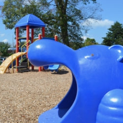 Church playground in blue