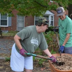 A woman and a man shovel mulch from a wheelbarrow