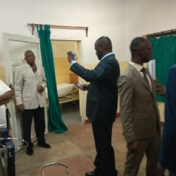 People tour the renovated PAX Clinic in Democratic Republic of Congo