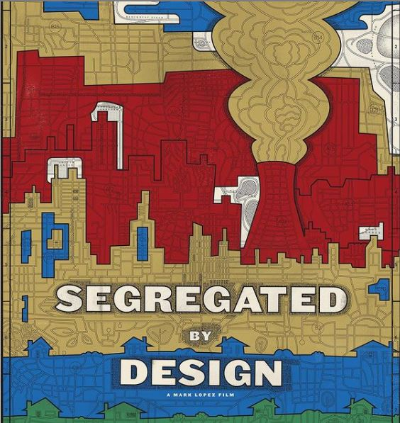 "The words ""Segregated by Design"" in front of outlines of city buildings"