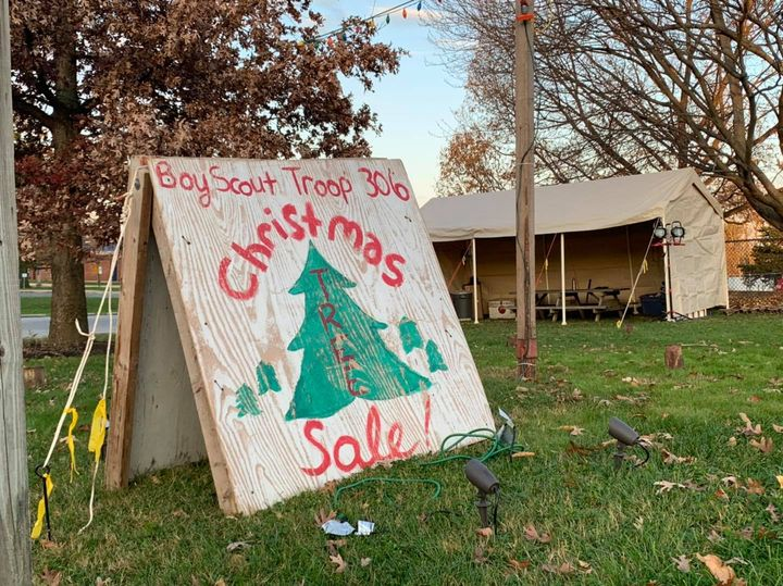 """A sign reads, """"Boy Scout Troop 306 Christmas Tree Sale"""""""