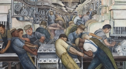painting of workers in a facotry